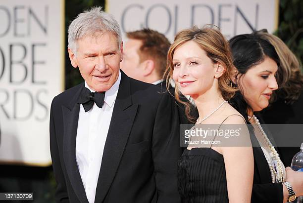 Actors Harrison Ford and Calista Flockhart arrive at the 69th Annual Golden Globe Awards held at the Beverly Hilton Hotel on January 15 2012 in...