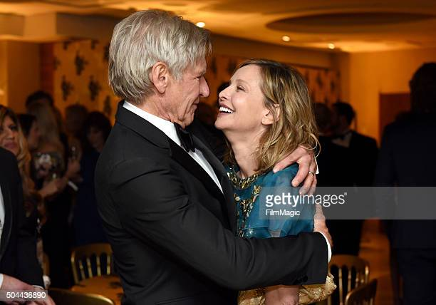 Actors Harrison Ford and Calista Flockhart attend HBO's Official Golden Globe Awards After Party at The Beverly Hilton Hotel on January 10 2016 in...