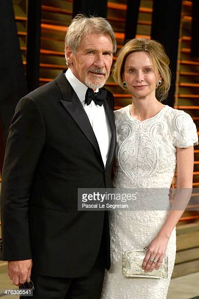 Actors Harrison Ford and Calista Flockhart attend the 2014 Vanity Fair Oscar Party hosted by Graydon Carter on March 2 2014 in West Hollywood...