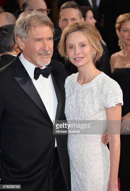 Actors Harrison Ford and Calista Flockhart attend the Oscars held at Hollywood Highland Center on March 2 2014 in Hollywood California