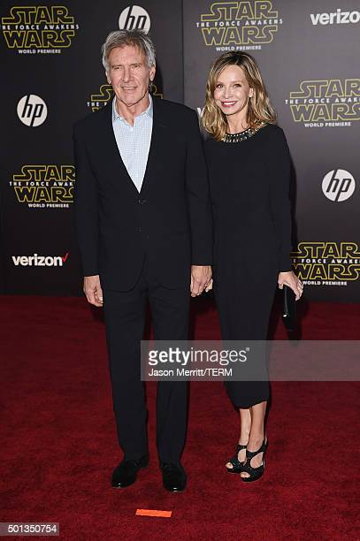 Actors Harrison Ford and Calista Flockhart attend the Premiere of Walt Disney Pictures and Lucasfilm's Star Wars The Force Awakens on December 14...