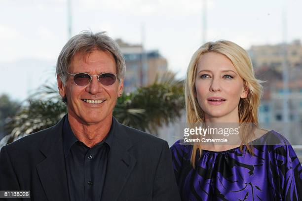 Actors Harrison Ford and Cate Blanchett attend Indiana Jones and The Kingdom of The Crystal Skull photocall at the Palais des Festivals during the...