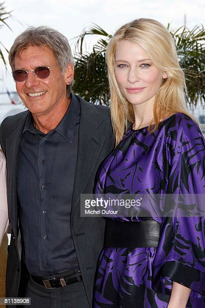 Actors Harrison Ford and Cate Blanchett attend 'Indiana Jones and The Kingdom of The Crystal Skull' photocall at the Palais des Festivals during the...