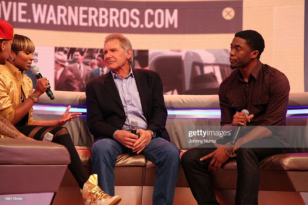 Actors Harrison Ford (c) and Chad Boseman (r) visit BET's 106 & Park with host Ms. Mykie (L) at BET Studios on April 8, 2013, in New York City.