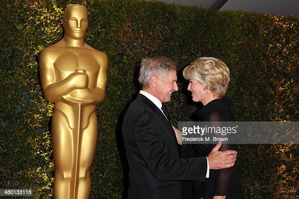 Actors Harrison Ford and Emma Thompson arrive at the Academy of Motion Picture Arts and Sciences' Governors Awards at The Ray Dolby Ballroom at...