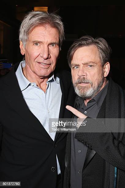 Actors Harrison Ford and Mark Hamill attend the Premiere of Walt Disney Pictures and Lucasfilm's Star Wars The Force Awakens on December 14 2015 in...