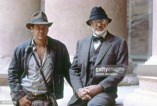 Actors Harrison Ford and Sean Connery on the set of 'Indiana Jones and the Last Crusade'