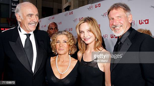 Actors Harrison Ford Calista Flockhart Sean Connery and wife Micheline arrive at the 34th AFI Life Achievement Award tribute to Sir Sean Connery held...