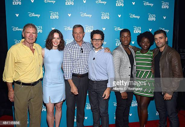 Actors Harrison Ford Daisy Ridley The Walt Disney Company Chairman and CEO Bob Iger director JJ Abrams actors John Boyega Lupita Nyong'o and Oscar...