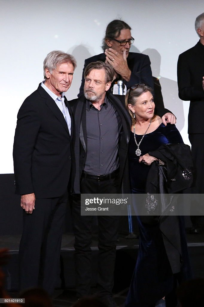 """Actors Harrison Ford, Mark Hamill and Carrie Fisher attend the World Premiere of """"Star Wars: The Force Awakens"""" at the Dolby, El Capitan, and TCL Theatres on December 14, 2015 in Hollywood, California."""