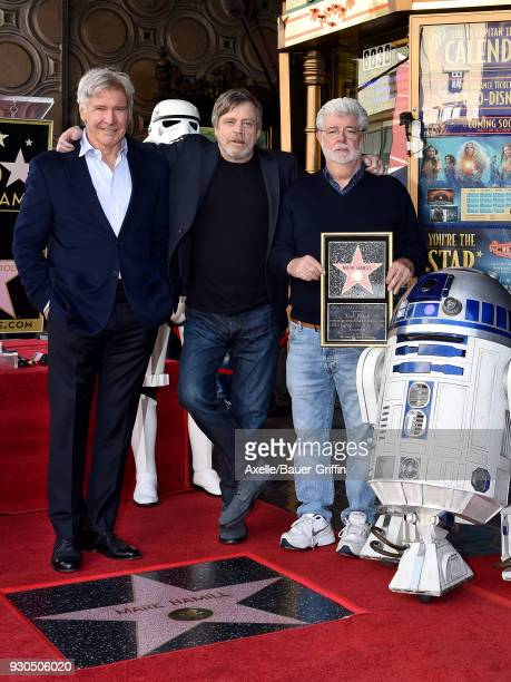 Actors Harrison Ford Mark Hamill and director George Lucas attend the ceremony honoring Mark Hamill with star on the Hollywood Walk of Fame on March...
