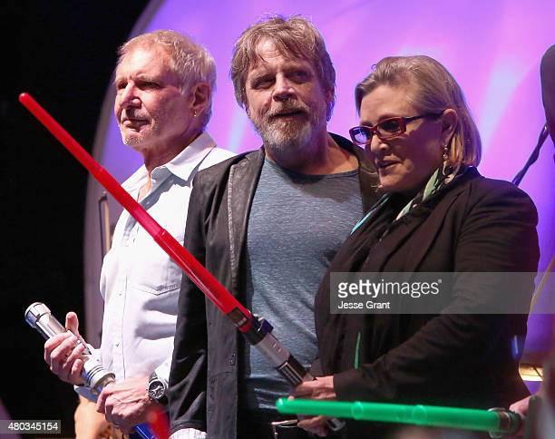 Actors Harrison Ford Mark Hamill Carrie Fisher and more than 6000 fans enjoyed a surprise 'Star Wars' Fan Concert performed by the San Diego Symphony...