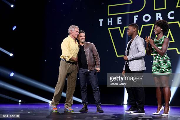 Actors Harrison Ford Oscar Isaac John Boyega and Lupita Nyong'o of STAR WARS THE FORCE AWAKENS took part today in 'Worlds Galaxies and Universes Live...