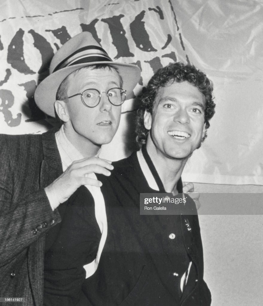 Actors Harry Anderson and Joe Piscipo attend Comic Relief Benefit on March 29, 1986 at the Universal Ampitheater in Universal City, California.