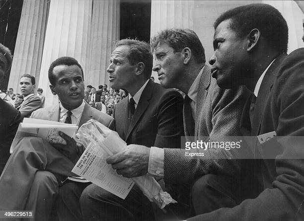 Actors Harry Belafonte, Charlton Heston, Burt Lancaster and Sidney Poitier attending the March on Washington for Jobs and Freedom, a huge civil...