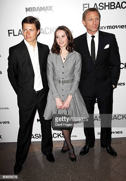 Actors Harry Eden Felicity Jones and Daniel Craig arrive at the UK premiere of 'Flashbacks of a Fool' at the Empire cinema Leicester Square on April...