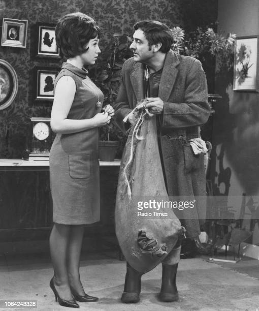 Actors Harry H Corbett and Gwendolyn Watts in a scene from episode 'Steptoe a la Cart' of the television sitcom 'Steptoe and Son' January 9th 1964