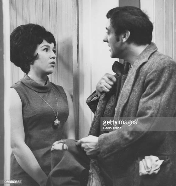 Actors Harry H Corbett and Gwendolyn Watts in a scene from episode 'Steptoe a la Carte' of the television sitcom 'Steptoe and Son' January 9th 1964