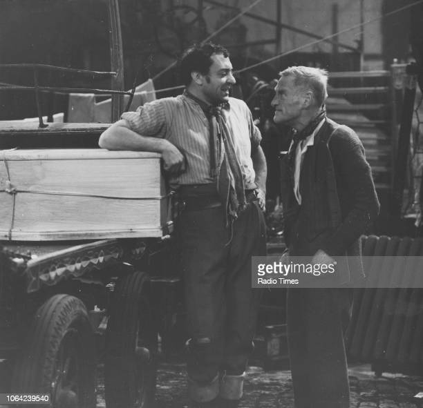 Actors Harry H Corbett and Wilfrid Brambell in a scene from episode 'Wooden Overcoat' of the television sitcom 'Steptoe and Son' December 19th 1963
