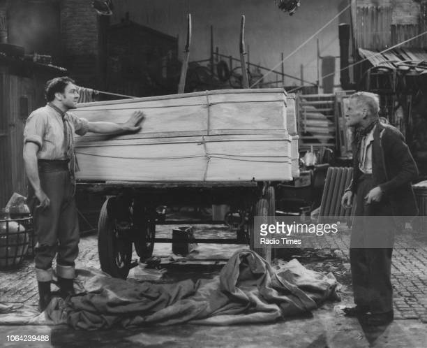 Actors Harry H Corbett and Wilfrid Brambell in a scene from the television sitcom the 'Steptoe and Son' December 19th 1963