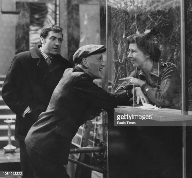 Actors Harry H Corbett Wilfrid Brambell and Damaris Hayman in a cinema scene from episode 'Sunday for Seven Days' of the television sitcom 'Steptoe...