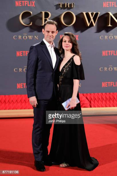 Actors Harry HaddenPaton and Rebecca Night attend the World Premiere of season 2 of Netflix 'The Crown' at Odeon Leicester Square on November 21 2017...