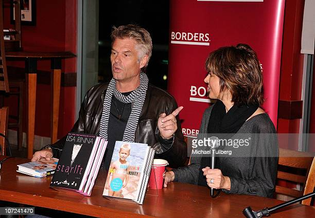 Actors Harry Hamlin and Lisa Rinna speak at a signing event for their new books Full Frontal Nudity and Starlit on December 1 2010 in Sherman Oaks...
