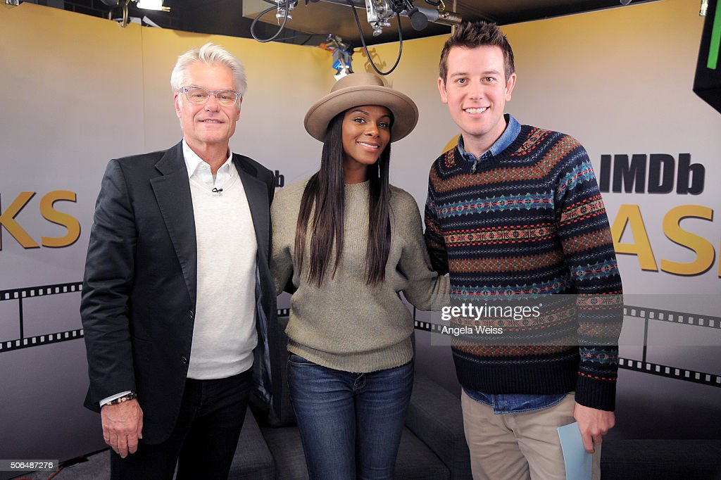 Actors Harry Hamlin and Tika Sumpter and critic Ben Lyons in the IMDb Studio In Park City for 'IMDb Asks': Day Two - on January 23, 2016 in Park City, Utah.