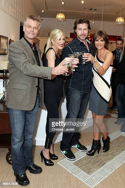"Actors Harry Hamlin, Tori Spelling, Dean McDermott and Lisa Rinna attend the taping of TV Land docu-soap ""Harry Loves Lisa"" at Belle Gray Boutique's..."