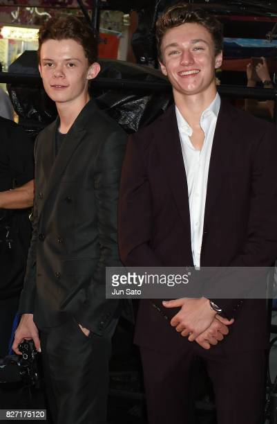 Actors Harry Holland and Harrison Osterfield attend the 'SpiderMan Homecoming' Japan Premier at Kabukicho Cinecity Park on August 7 2017 in Tokyo...