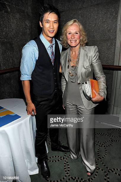 Actors Harry Shum and Glenn Close attend the 9th annual Jed Foundation Infinite Possibilities Gala at Gustavino's on June 10 2010 in New York City