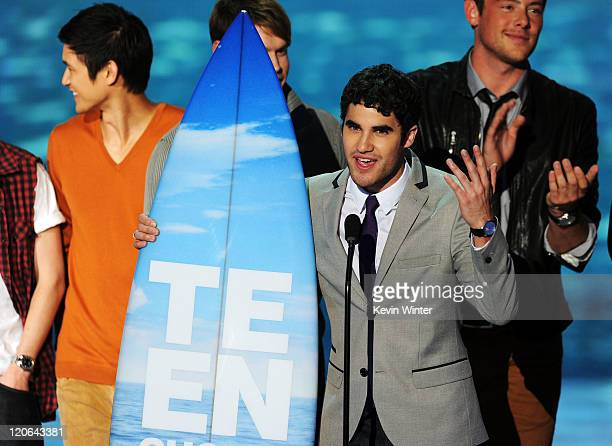 Actors Harry Shum Jr. And Darren Criss onstage during the 2011 Teen Choice Awards held at the Gibson Amphitheatre on August 7, 2011 in Universal...