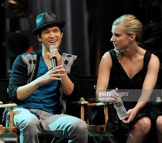 """Actors Harry Shum Jr. And Dianna Agron appear at the """"GLEE"""" 300th musical performance special taping at Paramount Studios on October 26, 2011 in Los..."""