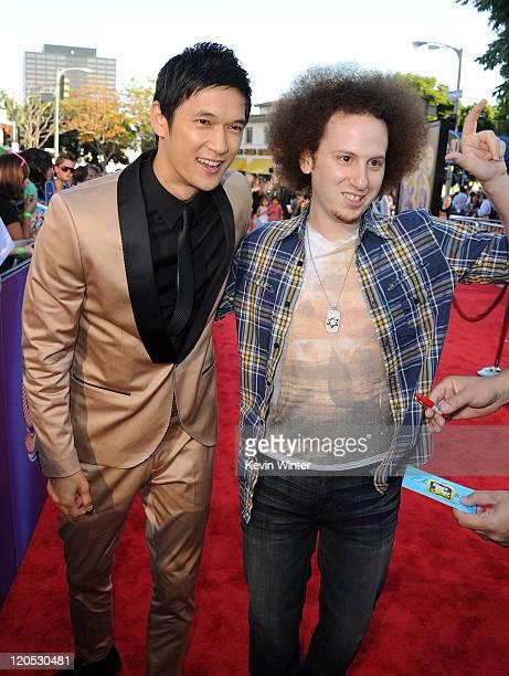 "Actors Harry Shum Jr. And Josh Sussman arrive at the premiere of Twentieth Century Fox's ""Glee The 3D Concert Movie"" held at the Regency Village..."