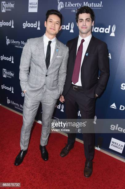 Actors Harry Shum Jr and Matthew Daddario attend the 28th Annual GLAAD Media Awards in LA at The Beverly Hilton Hotel on April 1 2017 in Beverly...