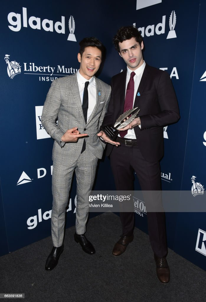 Actors Harry Shum Jr. (L) and Matthew Daddario pose with the Outstanding Drama Series award for 'Shadowhunters' during the 28th Annual GLAAD Media Awards in LA at The Beverly Hilton Hotel on April 1, 2017 in Beverly Hills, California.