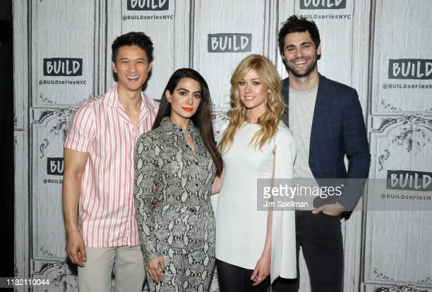 Actors Harry Shum Jr Emeraude Tobia Katherine McNamara and Matthew Daddario attend the Build Series to discuss Shadowhunters at Build Studio on...