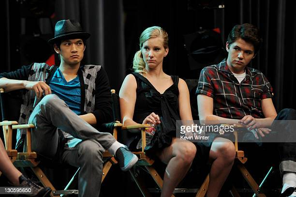 """Actors Harry Shum Jr., Heather Morris and Damian McGinty appear at the """"GLEE"""" 300th musical performance special taping at Paramount Studios on..."""