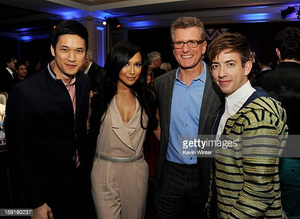 Actors Harry Shum Jr., Naya Rivera, Kevin Reilly, Chairman of Entertainment, Fox Broadcasting Company and actor Kevin McHale pose at the FOX All-Star...