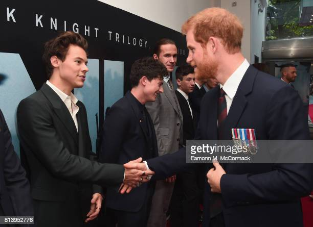 Actors Harry Styles and Aneurin Barnard and Prince Harry attend the 'Dunkirk' World Premiere at Odeon Leicester Square on July 13 2017 in London...