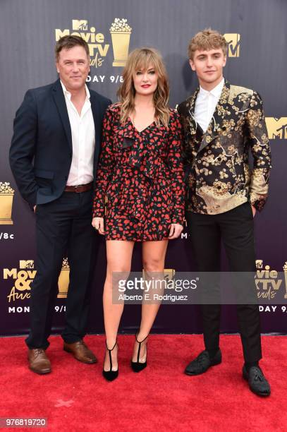 Actors Hart Denton Madchen Amick and Mädchen Amick attend the 2018 MTV Movie And TV Awards at Barker Hangar on June 16 2018 in Santa Monica California