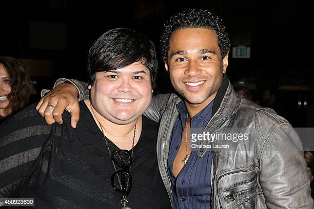 Actors Harvey Guillen and Corbin Bleu arrive at the HollyShorts screening of Chocolate Milk at TCL Chinese Theatre on June 19 2014 in Hollywood...
