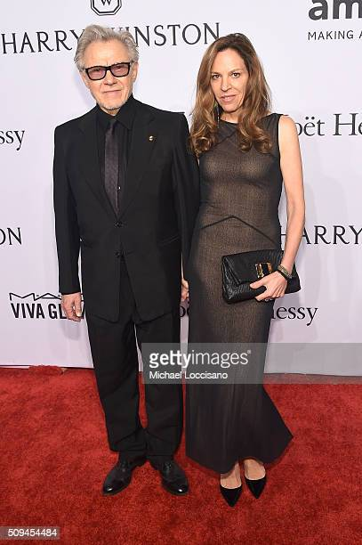 Actors Harvey Keitel and Daphna Kastner attends 2016 amfAR New York Gala at Cipriani Wall Street on February 10 2016 in New York City