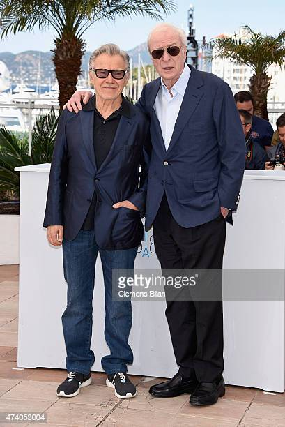 Actors Harvey Keitel and Michael Caine attend the Youth Photocall during the 68th annual Cannes Film Festival on May 20 2015 in Cannes France