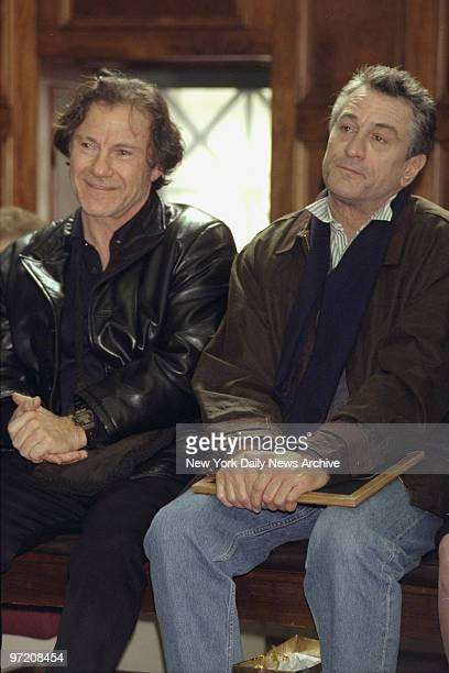 Actors Harvey Keitel and Robert DeNiro share a courtroom bench at State Supreme Court They were among a group of former jurors honored on Jurors Day