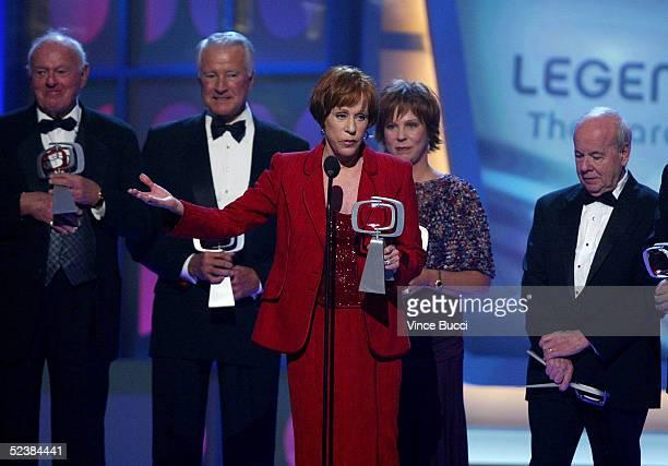 Actors Harvey Korman Lyle Waggoner Tim Conway Vicki Lawrence Carol Burnett and Designer Bob Mackie accept the Legend Award for The Carol Burnett Show...