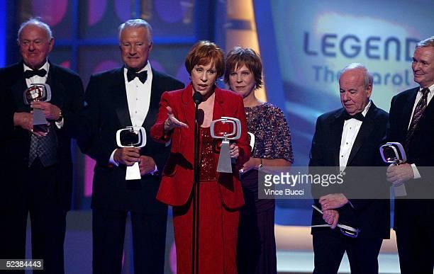 "Actors Harvey Korman, Lyle Waggoner, Tim Conway, Vicki Lawrence, Carol Burnett, and Designer Bob Mackie accept the Legend Award for ""The Carol..."