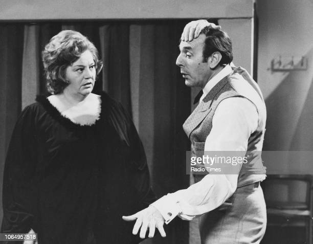 Actors Hattie Jacques and Eric Sykes in a scene from episode 'Western' of the television sitcom 'Sykes and a Big Big Show' 1971