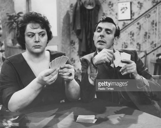Actors Hattie Jacques and Eric Sykes playing cards in a scene from the television sitcom episode 'Sykes and a Gamble' November 8th 1961 First printed...