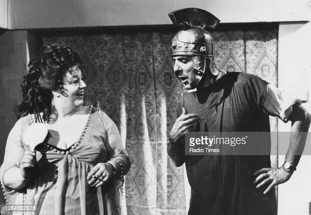 Actors Hattie Jacques and Eric Sykes wearing Roman costumes in a scene from episode 'Concord' of the television sitcom 'Sykes and a Big Big Show' 1971
